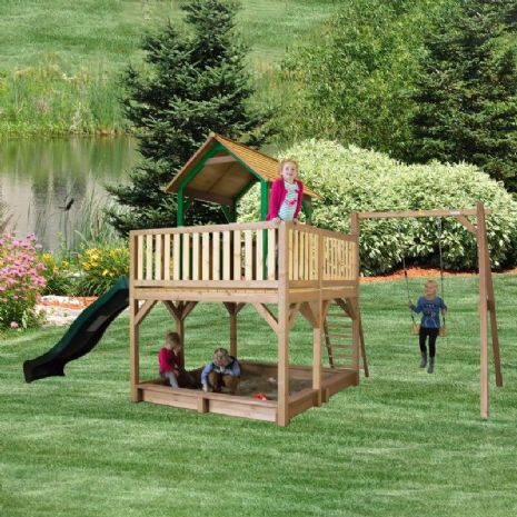 Jumbo Jungle Lookout Playhouse With Sandpit, Wavy Slide and Swing